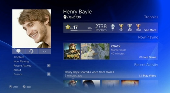 Sony PS4 Social Network PSN Profile