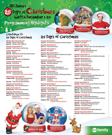 ABC Family's 25 Days of Christmas Schedule 2013