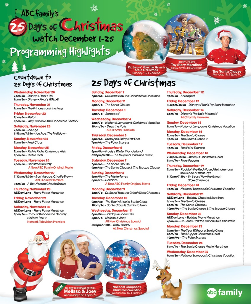 abc familys 25 days of christmas schedule 2013 - 25 Days Of Christmas Abc Family
