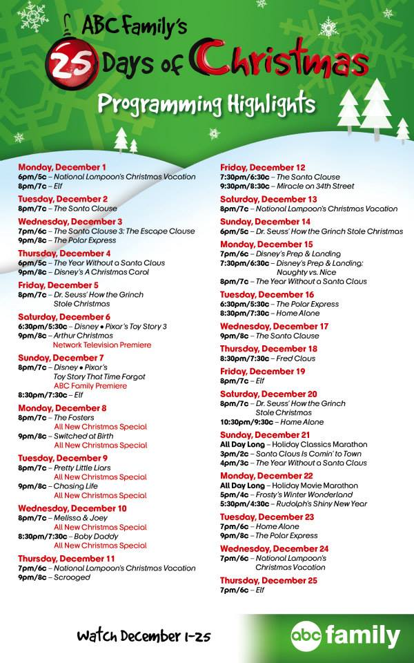 abc familys 25 days of christmas movie marathon schedule 2014 turn the right corner