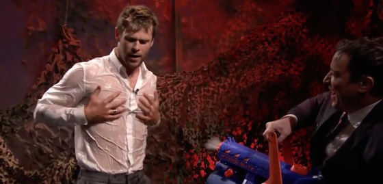 Chris Hemsworth Wet Shirt for The Tonight Show Jimmy Fallon