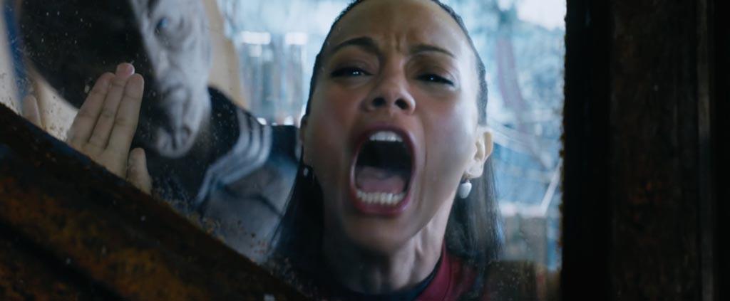 Star Trek Beyond Teaser Screenshot Zoe Saldana Uhuru Screaming